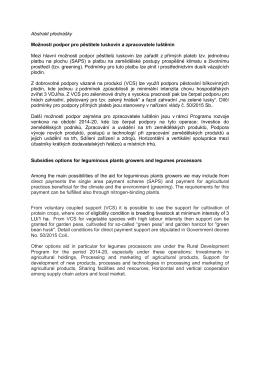 Abstrakt přednášky Možnosti podpor pro pěstitele luskovin a