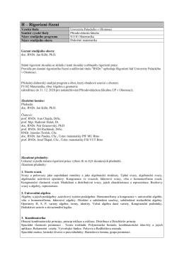 H – Rigorózní řízení - Katedra algebry a geometrie