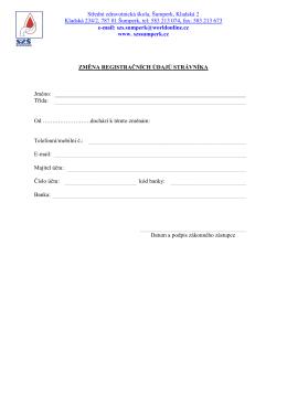 Změna registračních údajů - Střední zdravotnická škola Šumperk