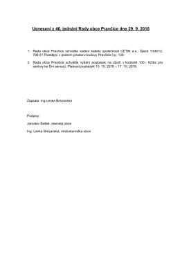 Usnesení ze 46. jednání Rady obce Pravčice