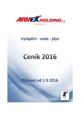 Kompletní ceník - ARMEX Holding, as