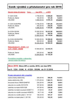 Ceník výrobků 2016