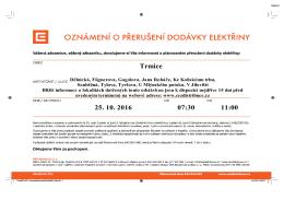 Oznámení o přerušení dodávky elektřiny