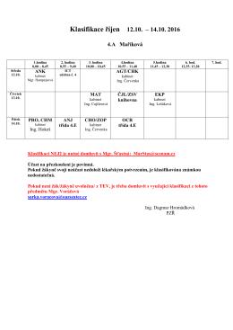 Plán klasifikace 4.A – říjen