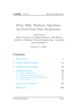 Ftal Mse: Hardware Algorithms On Fixed-Point Filter