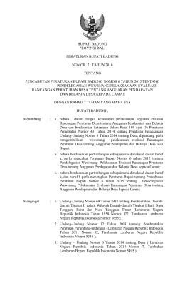 bupati badung provinsi bali peraturan bupati badung nomor 21