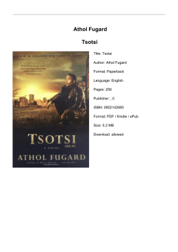 Athol Fugard Tsotsi