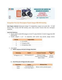 Kumpulkan Poin dan Menangkan Hadiah dengan BNI SMS Banking