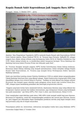 Kepala Rumah Sakit Kepresidenan Jadi Anggota Baru AIPYo