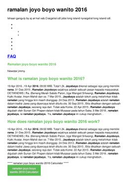 ramalan joyo boyo wanito 2016