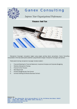 Finance And Tax. - Ganex Consulting
