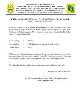 BA GAGAL LELANG - LPSE Kota Banjarmasin