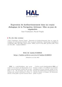 Expression du dysfonctionnement dans un corpus - Hal-SHS