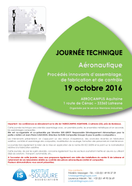 19 octobre 2016 - Institut de Soudure