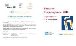 Semaine hispanophone 2016 Langue et pouvoir 17 au 20 octobre