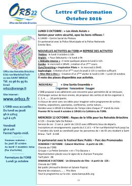 Lettre d`infos de Octobre - Office des Retraités Briochins