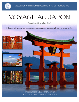 voyage au japon - U3A - Osaka International Conference 2016