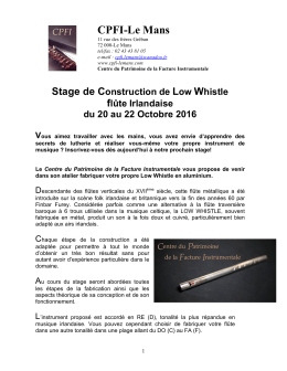 Flyer Low Whistle - Centre du Patrimoine de la Facture Instrumentale