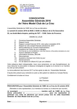 convocation ag - Aero model club de la Crau