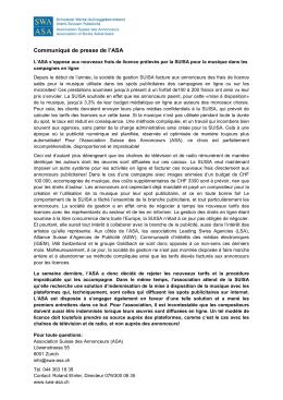 Communiqué de presse - SWA-ASA