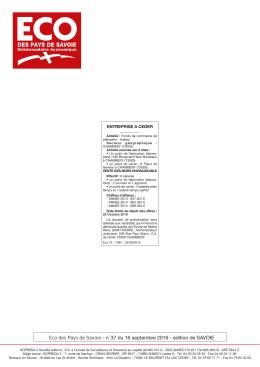 Eco des Pays de Savoie - n° 37 du 16 septembre 2016