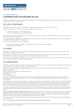 l`interdiction volontaire de jeu