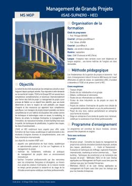 Management de Grands Projets - Mastères spécialisés