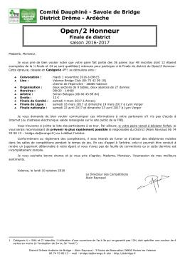 Open/2 Honneur - Comité Dauphiné Savoie de Bridge