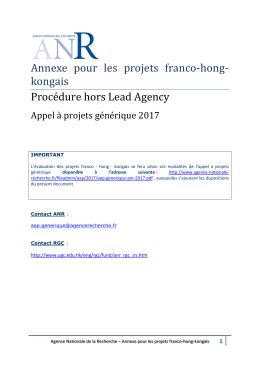 Annexe pour les projets franco-hong- kongais Procédure hors