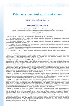 Décision du 11 octobre 2016 portant délégation de signature