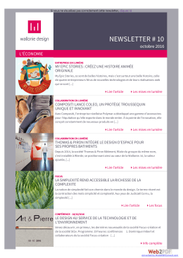 NEWSLETTER # 10 octobre 2016