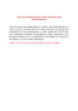 AVIS AUX ETUDIANTS REINSCRIPTION