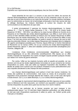 Dr Le Goff Nicolas : Exposition aux rayonnements