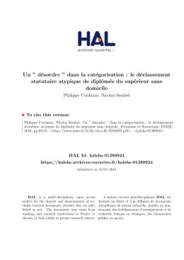 """Un """" désordre """" dans la catégorisation : le déclassement - Hal-SHS"""