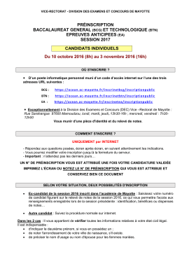 note inscription aux bts session 2012