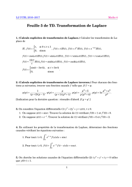 Feuille 5 de TD. Transformation de Laplace