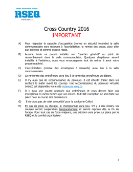 Cross Country 2016 IMPORTANT - L`Association régionale du sport