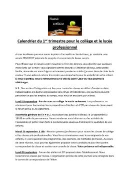 Calendrier - Sacré Coeur