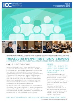 procédures d`expertise et dispute boards