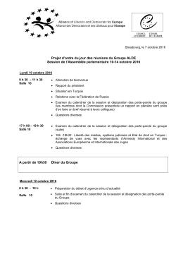Projet d`ordre du jour des réunions du Groupe ALDE Session de l