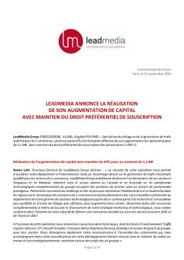leadmedia annonce la réalisation de son augmentation de capital