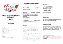 Cours IBG 2016 - PDF - Institut Biblique de Genève
