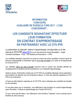 Informations APPRENTISSAGE