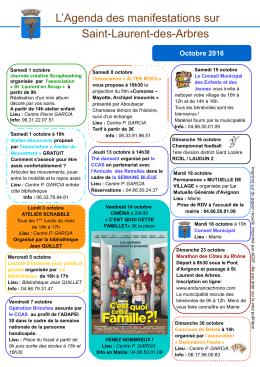 Agenda des manifestations octobre et novembre 2016