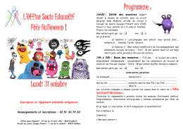 """Événement : """"L`Office Socio Educatif fête Halloween!"""""""
