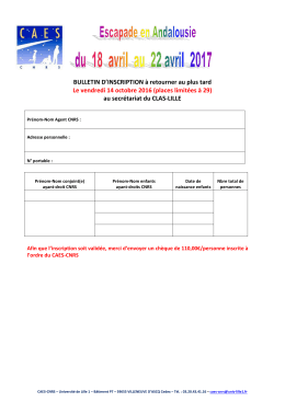BULLETIN D`INSCRIPTION à retourner au plus tard