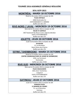 Calendrier des assemblées locales Tournée AG 2016 - sevl-scfp-2815