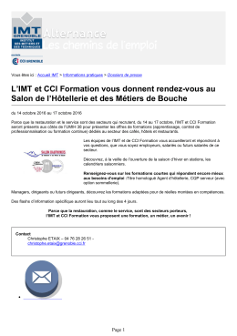 version PDF - Institut des Métiers et de Techniques