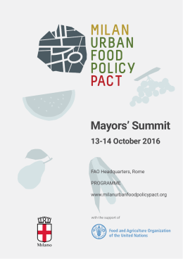 Mayors` Summit - Milan Urban Food Policy Pact