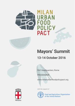 Mayors` Summit - Milan Urban Food Policy Pact